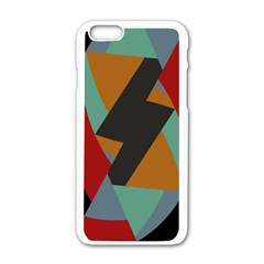 Fractal Design In Red, Soft Turquoise, Camel On Black Apple Iphone 6 White Enamel Case by theunrulyartist
