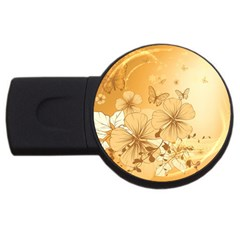 Wonderful Flowers With Butterflies Usb Flash Drive Round (4 Gb)  by FantasyWorld7