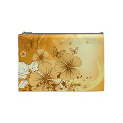 Wonderful Flowers With Butterflies Cosmetic Bag (medium)  by FantasyWorld7