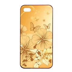 Wonderful Flowers With Butterflies Apple Iphone 4/4s Seamless Case (black) by FantasyWorld7