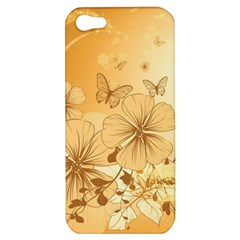 Wonderful Flowers With Butterflies Apple Iphone 5 Hardshell Case by FantasyWorld7
