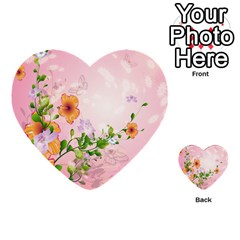 Beautiful Flowers On Soft Pink Background Multi Purpose Cards (heart)