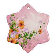 Beautiful Flowers On Soft Pink Background Ornament (snowflake)