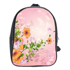 Beautiful Flowers On Soft Pink Background School Bags (xl)  by FantasyWorld7