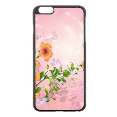 Beautiful Flowers On Soft Pink Background Apple Iphone 6 Plus Black Enamel Case by FantasyWorld7