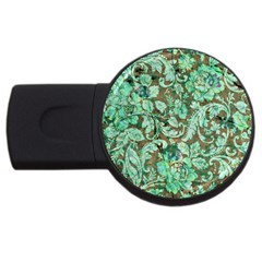 Beautiful Floral Pattern In Green Usb Flash Drive Round (2 Gb)  by FantasyWorld7