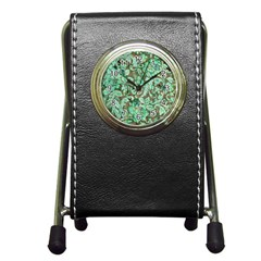 Beautiful Floral Pattern In Green Pen Holder Desk Clocks by FantasyWorld7