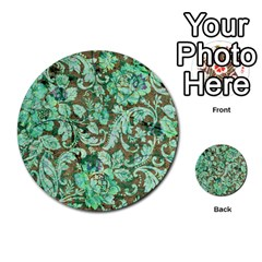 Beautiful Floral Pattern In Green Multi-purpose Cards (Round)  by FantasyWorld7