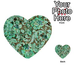 Beautiful Floral Pattern In Green Multi Purpose Cards (heart)  by FantasyWorld7
