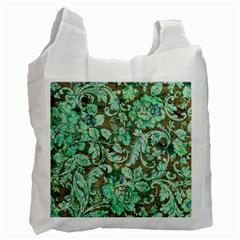 Beautiful Floral Pattern In Green Recycle Bag (Two Side)  by FantasyWorld7