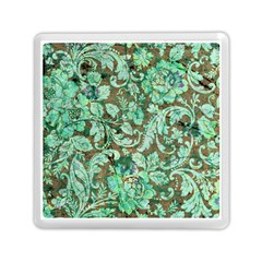 Beautiful Floral Pattern In Green Memory Card Reader (square)  by FantasyWorld7