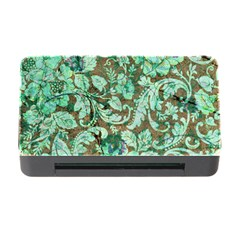 Beautiful Floral Pattern In Green Memory Card Reader With Cf by FantasyWorld7