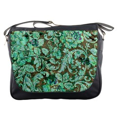 Beautiful Floral Pattern In Green Messenger Bags by FantasyWorld7