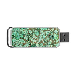 Beautiful Floral Pattern In Green Portable USB Flash (Two Sides) by FantasyWorld7