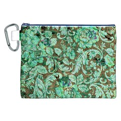 Beautiful Floral Pattern In Green Canvas Cosmetic Bag (xxl)  by FantasyWorld7