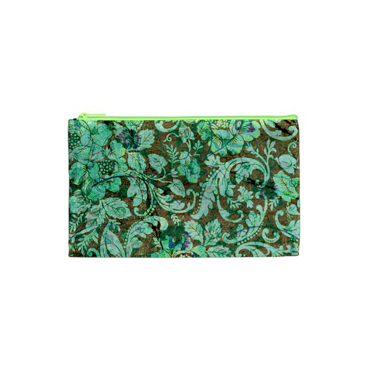Beautiful Floral Pattern In Green Cosmetic Bag (XS)
