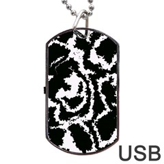 Migraine Bw Dog Tag Usb Flash (two Sides)  by MoreColorsinLife