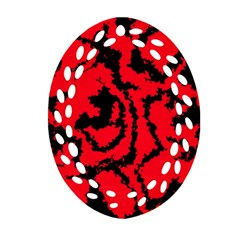 Migraine Red Oval Filigree Ornament (2 Side)  by MoreColorsinLife