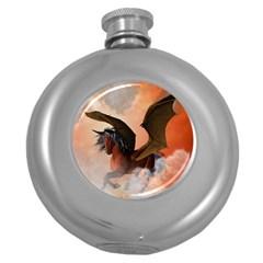 The Dark Unicorn Round Hip Flask (5 Oz) by FantasyWorld7