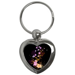 Awesome Flowers With Fire And Flame Key Chains (heart)  by FantasyWorld7