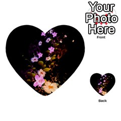 Awesome Flowers With Fire And Flame Multi Purpose Cards (heart)