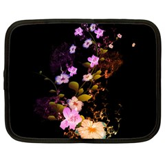 Awesome Flowers With Fire And Flame Netbook Case (large)	 by FantasyWorld7