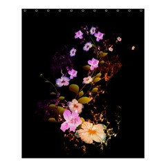 Awesome Flowers With Fire And Flame Shower Curtain 60  X 72  (medium)  by FantasyWorld7