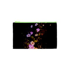 Awesome Flowers With Fire And Flame Cosmetic Bag (xs)