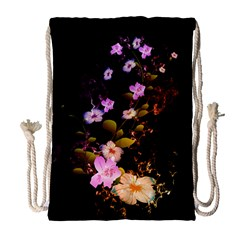 Awesome Flowers With Fire And Flame Drawstring Bag (large) by FantasyWorld7