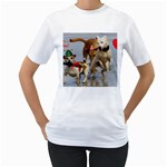 Birthday Dogs Women s T-Shirt (White) (Two Sided)