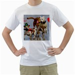 Birthday Dogs Men s T-Shirt (White) (Two Sided)