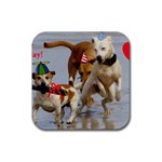 Birthday Dogs Rubber Square Coaster (4 pack)