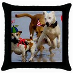 Birthday Dogs Throw Pillow Case (Black)