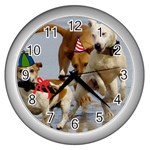 Birthday Dogs Wall Clock (Silver)