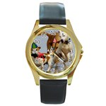 Birthday Dogs Round Gold Metal Watch