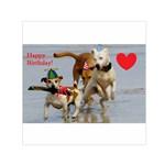 Birthday Dogs Small Satin Scarf (Square)