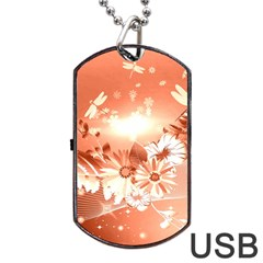 Amazing Flowers With Dragonflies Dog Tag USB Flash (One Side) by FantasyWorld7