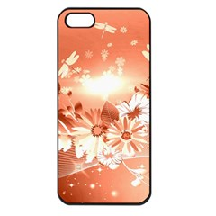Amazing Flowers With Dragonflies Apple Iphone 5 Seamless Case (black) by FantasyWorld7