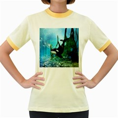 Orca Swimming In A Fantasy World Women s Fitted Ringer T Shirts by FantasyWorld7