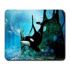Orca Swimming In A Fantasy World Large Mousepads by FantasyWorld7