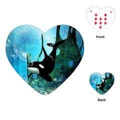 Orca Swimming In A Fantasy World Playing Cards (heart)  by FantasyWorld7