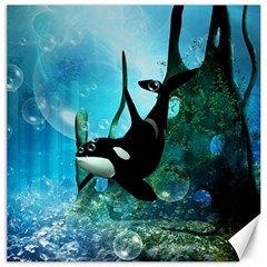 Orca Swimming In A Fantasy World Canvas 12  X 12   by FantasyWorld7