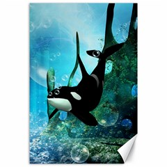Orca Swimming In A Fantasy World Canvas 24  X 36  by FantasyWorld7