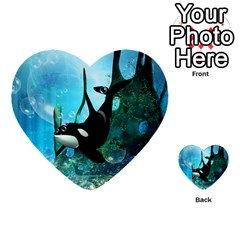 Orca Swimming In A Fantasy World Multi Purpose Cards (heart)  by FantasyWorld7