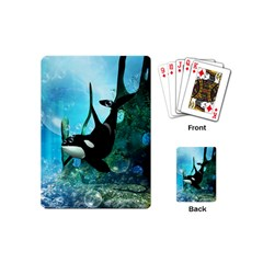 Orca Swimming In A Fantasy World Playing Cards (mini)  by FantasyWorld7