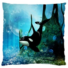 Orca Swimming In A Fantasy World Large Flano Cushion Cases (Two Sides)  by FantasyWorld7