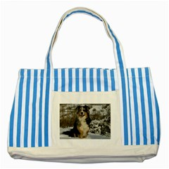 Australian Shepherd In Snow 2 Striped Blue Tote Bag  by TailWags