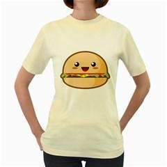Kawaii Burger Women s Yellow T-Shirt by KawaiiKawaii