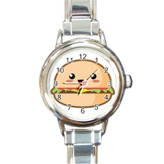 Kawaii Burger Round Italian Charm Watches