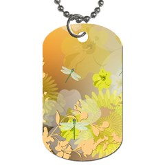 Beautiful Yellow Flowers With Dragonflies Dog Tag (One Side) by FantasyWorld7